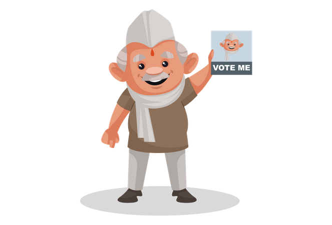 Politician showing the vote me poster Illustration