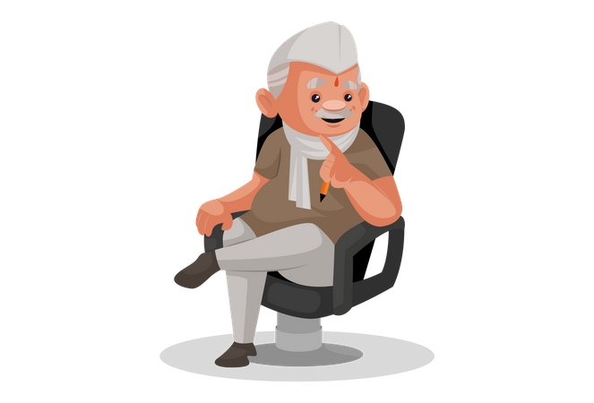 Politician sitting on a chair in the office Illustration