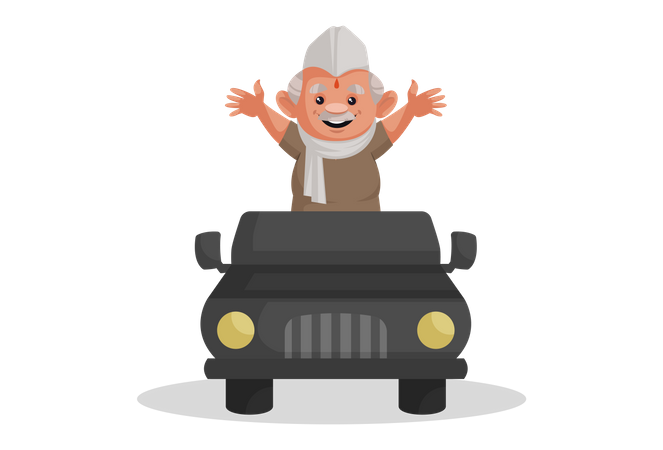 Politician standing in a jeep and greeting people Illustration