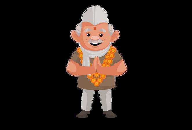 Politician wearing flower garland and doing Namaste Illustration