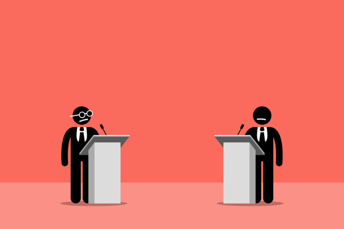 Politicians debating on the stage Illustration