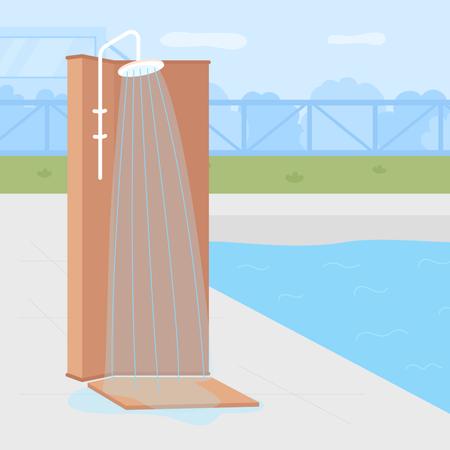 Poolside backyard shower Illustration