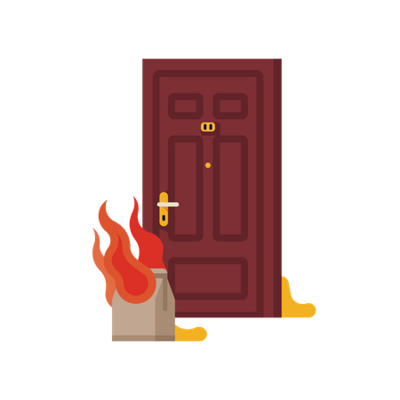 Poop bag prank with paper bag on fire in front of apartment or house front door Illustration