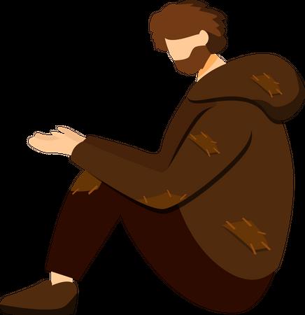 Poor beggar, miserable pauper Illustration