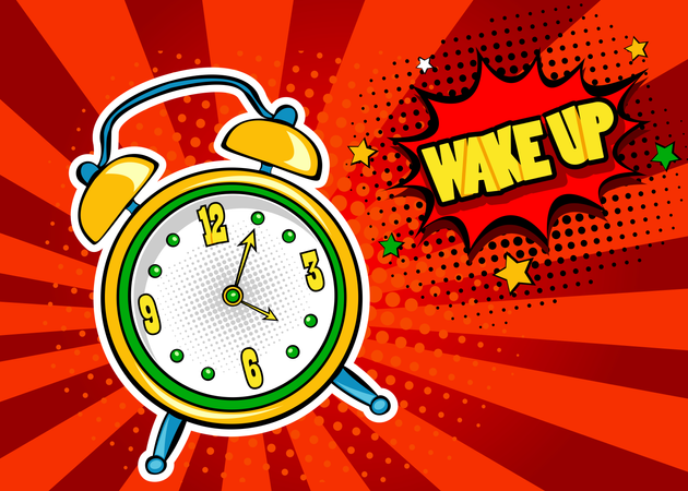 Pop art background with comic alarm clock ringing with speech bubble with Wake Up text Illustration