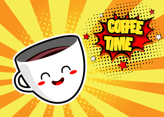 Pop art background with cute coffee mug and speech bubble with Coffee Time text. Vector colorful hand drawn illustration in retro comic style. Illustration