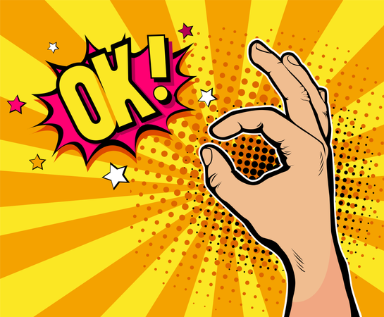 Pop art background with male hand in suit showing okay sing and OK! Illustration