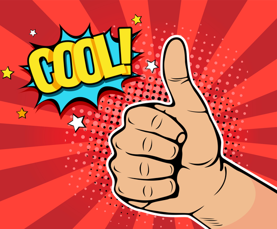 Pop art background with male hand showing thumb up with inscription Cool. Vector colorful hand drawn illustration with halftone in retro comic style. Illustration