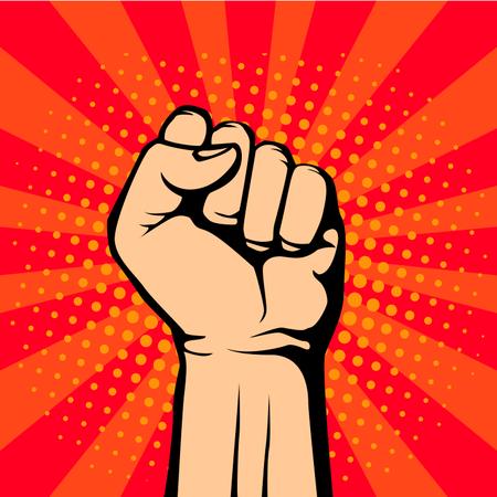 Pop art fist up, a symbol of protest. retro vector illustration Illustration