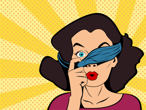 Pop art girl with tied eyes looking above bandage Illustration