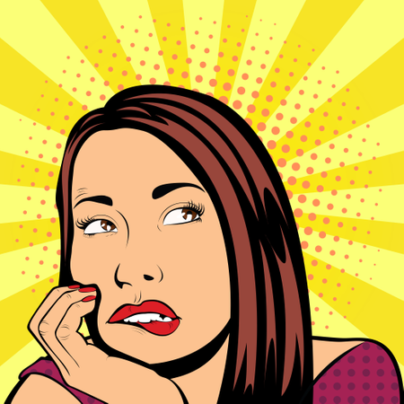 Pop Art illustration of girl with the speech bubble Illustration