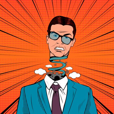 Pop Art Stressed Businessman with Explosion Head and broken mechanism Illustration