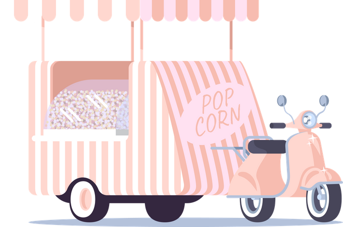 Pop corn food truck Illustration
