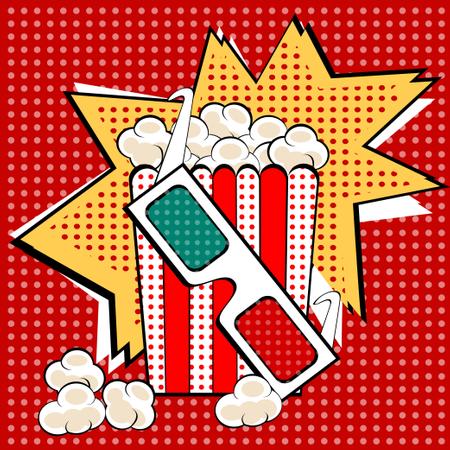Popcorn sweet and savory corn pop art retro style Illustration