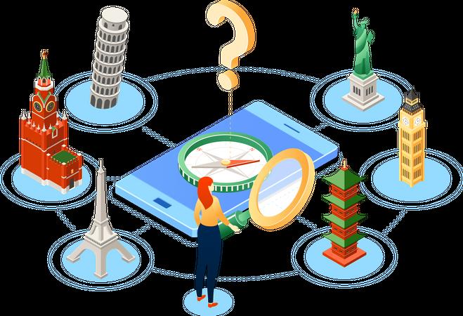 Popular travel destination Illustration