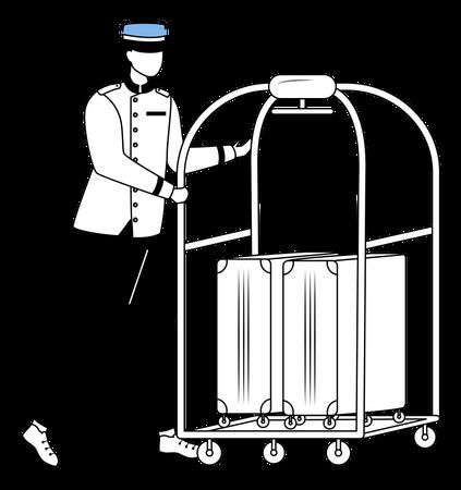 Porter carrying luggage Illustration