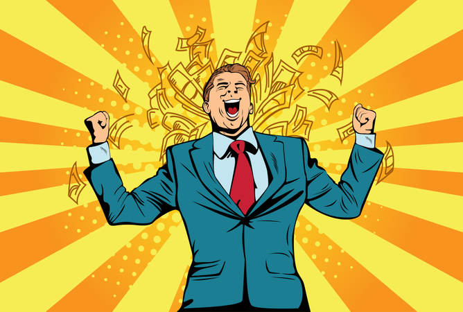Portrait of a happy businessman standing near a wall with dollar bills falling around him. Financial success celebrating with money, pop art retro comic book vector illustration Lottery and cash prize Illustration