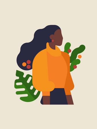 Portrait of black woman Illustration