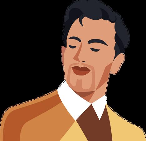 Portrait of bold gentlemen Illustration