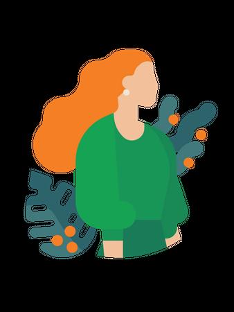 Portrait of redhead woman Illustration