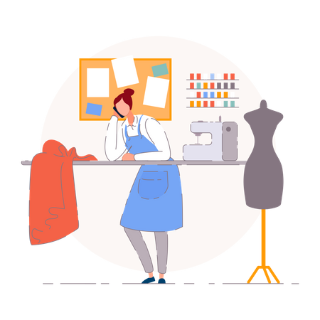 Portrait of the business owner on the workplace Illustration