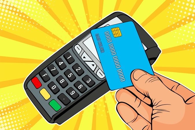 POS terminal, Payment Machine with credit card Illustration