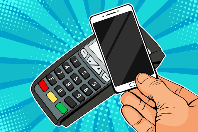 POS terminal, Payment Machine with mobile phone Illustration