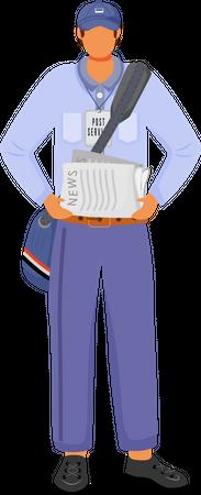 Post office male worker in american uniform Illustration