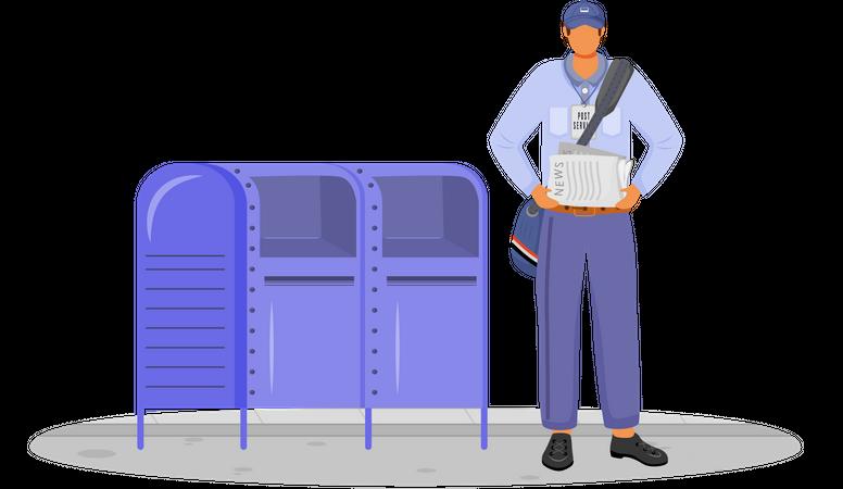 Post Office Male Worker In Usa Uniform Illustration