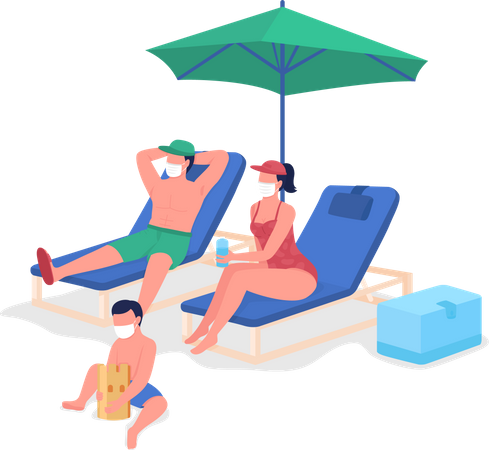 Post-pandemic family vacation Illustration