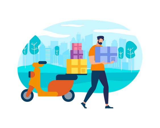 Postman Courier With Parcel on Motorbike Illustration