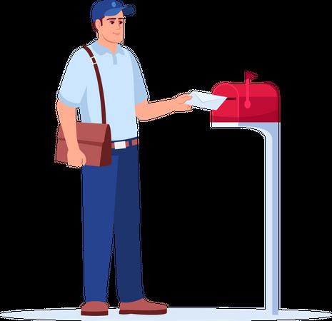 Postman delivering mail Illustration