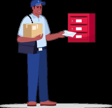 Postman delivering mail and parcel Illustration