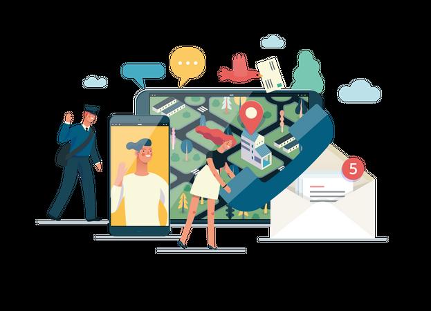 Postman delivering parcel using location app Illustration