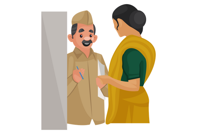 Postman giving letter to woman Illustration