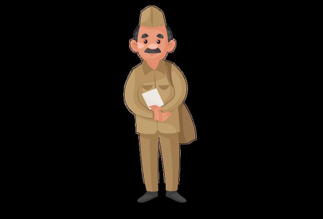 Postman holding letter in his hand Illustration