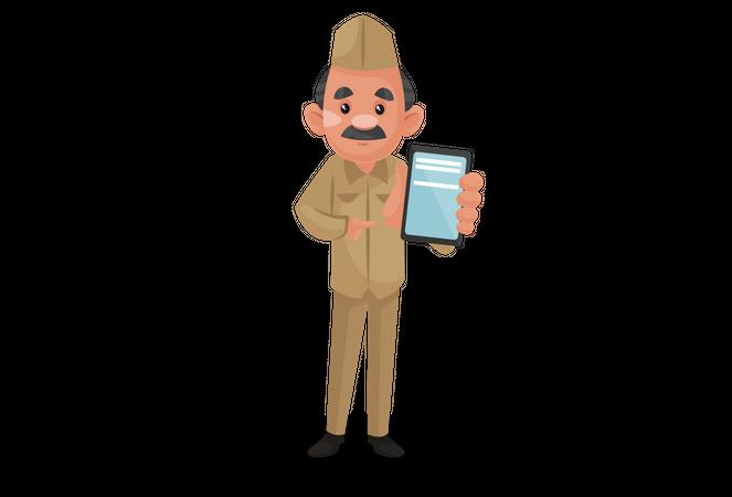Postman holding mobile Illustration
