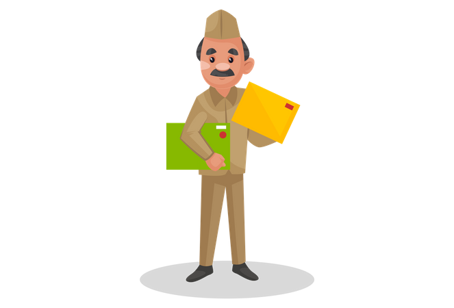 Postman holding postcard in his hand Illustration