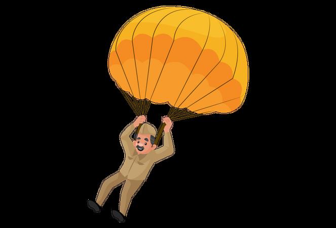 Postman landing using parachute Illustration