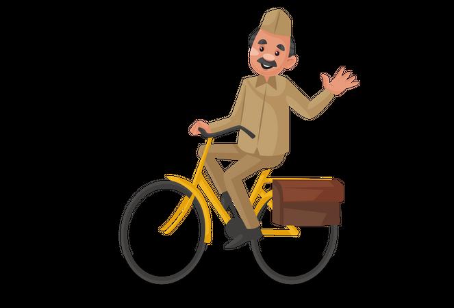 Postman riding bicycle Illustration
