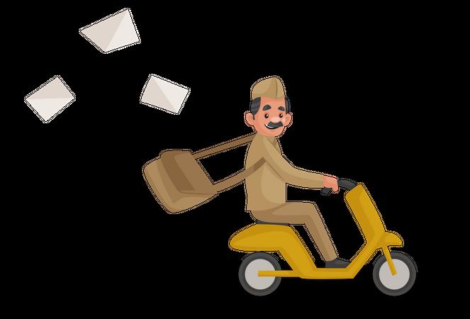 Postman riding bike Illustration