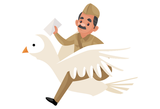 Postman riding pigeon to deliver letters Illustration