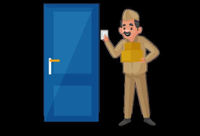 Postman ringing doorbell Illustration