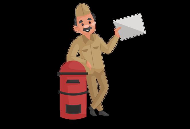 Postman standing beside postbox Illustration