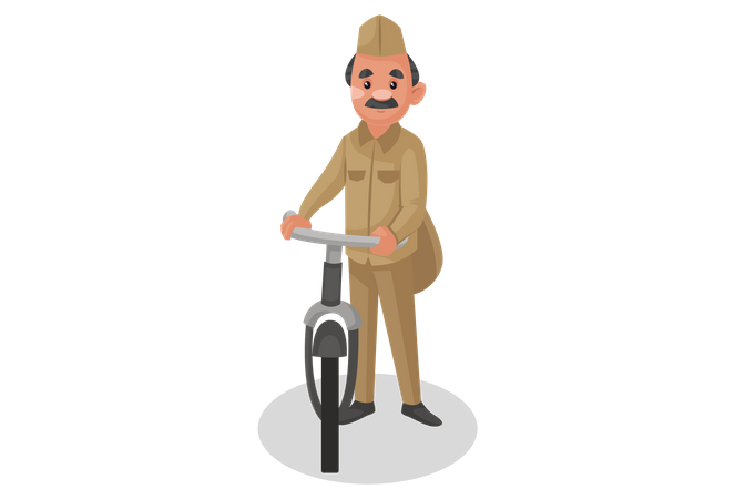 Postman standing with bicycle Illustration