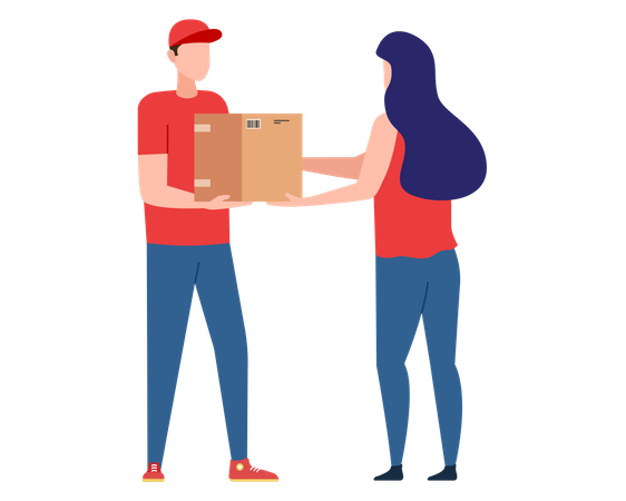 Postman with parcel order from home Illustration
