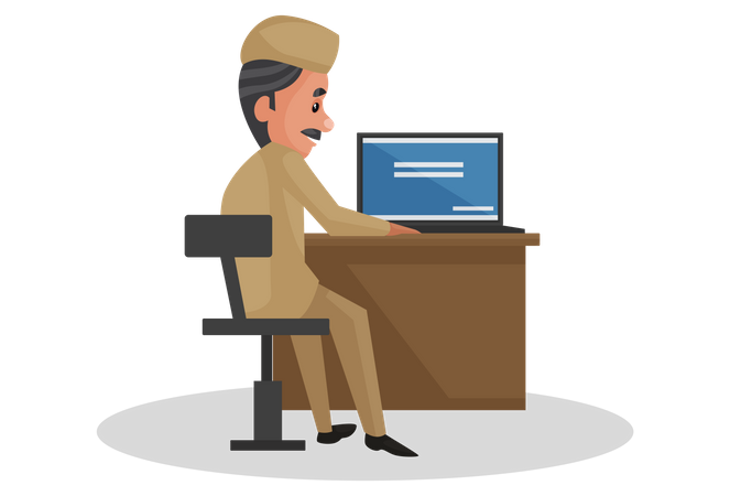 Postman working on laptop Illustration