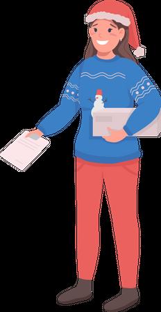 Postwoman doing Christmas delivery Illustration