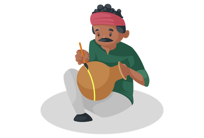 Potter is sitting and painting on the earthen pot Illustration