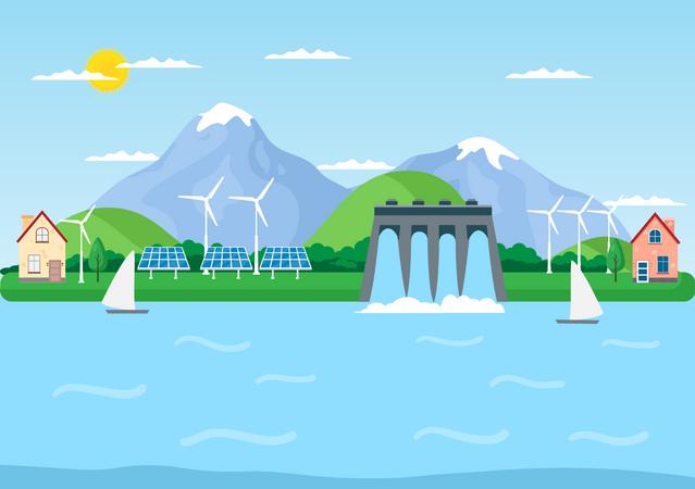 Power Generation Plant Illustration